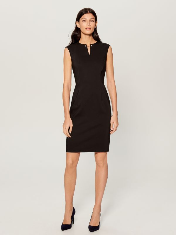 Midi dress with jewellery detail - black - UP296-99X - Mohito - 2