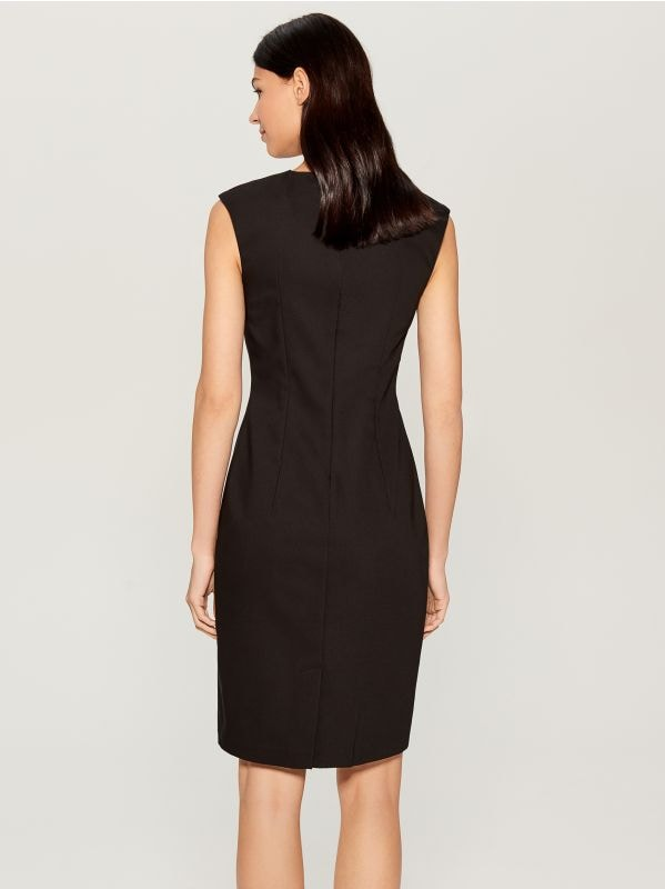 Midi dress with jewellery detail - black - UP296-99X - Mohito - 4
