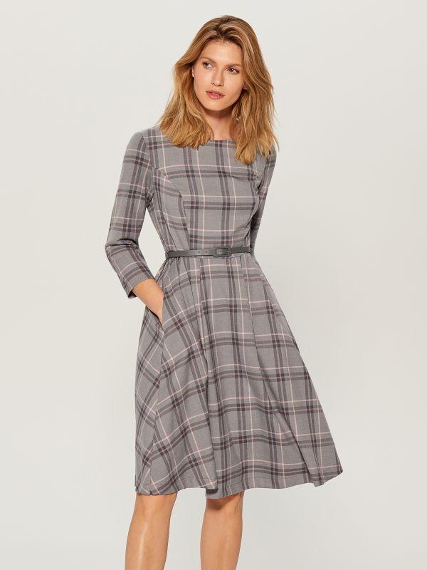 Midi dress with tie waist - grey - UX457-09P - Mohito - 1