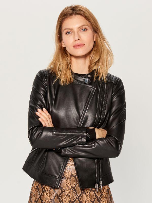 Eco-leather rocker jacket - black - VA418-99X - Mohito - 1