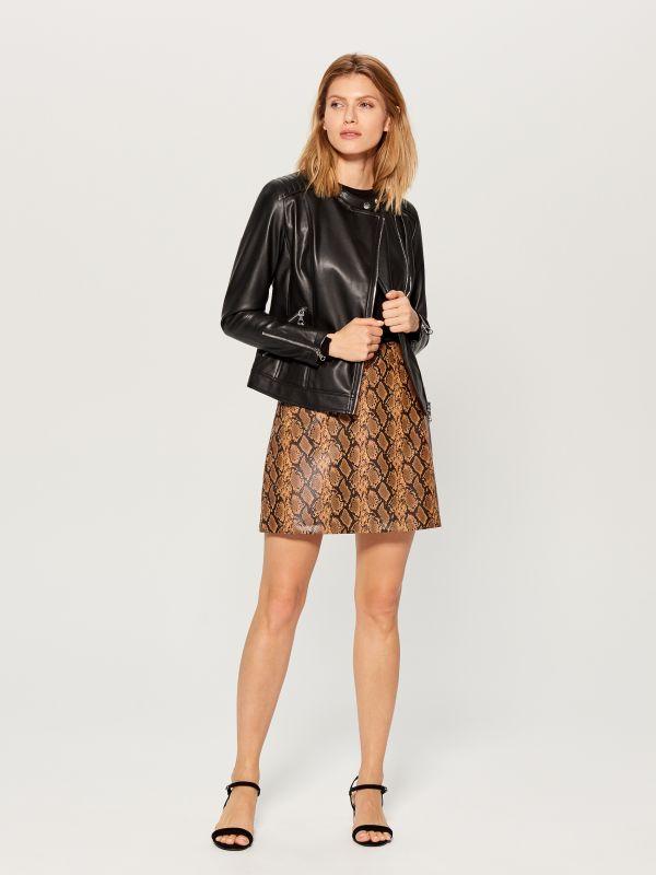 Eco-leather rocker jacket - black - VA418-99X - Mohito - 3