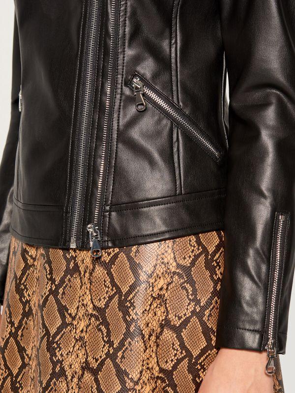 Eco-leather rocker jacket - black - VA418-99X - Mohito - 4
