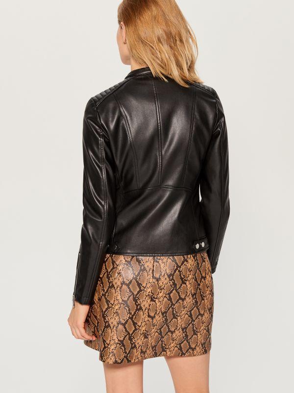 Eco-leather rocker jacket - black - VA418-99X - Mohito - 5