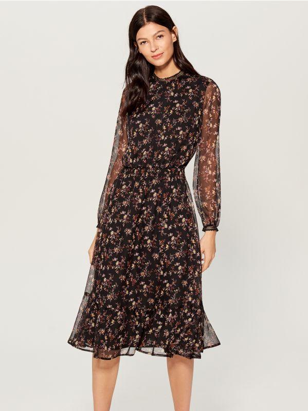 Chiffon floral dress - black - VB436-99P - Mohito - 1
