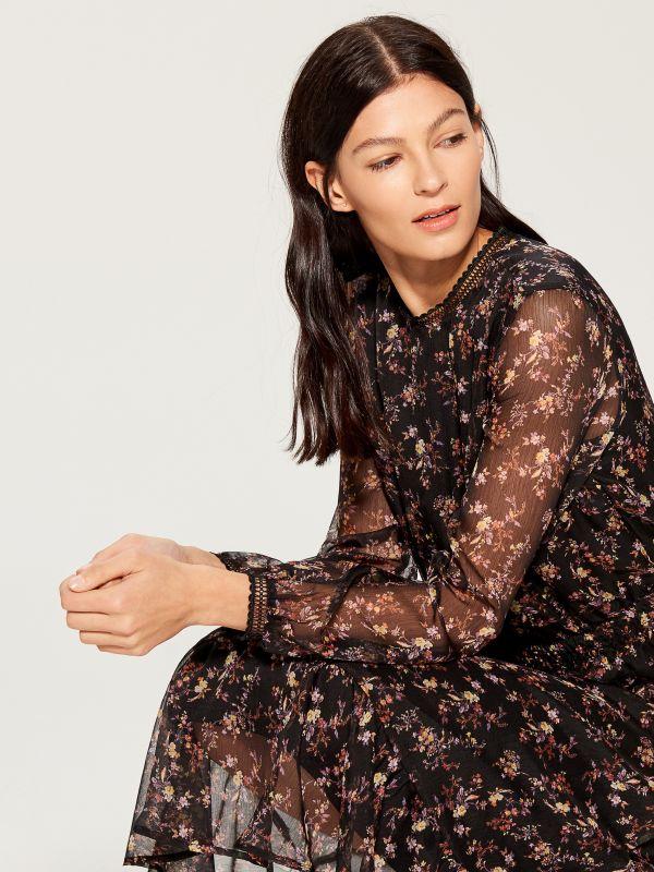 Chiffon floral dress - black - VB436-99P - Mohito - 3