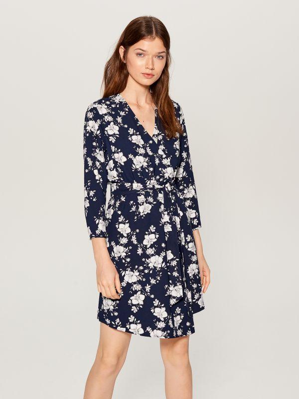 Printed wrap dress - blue - VD246-95P - Mohito - 1