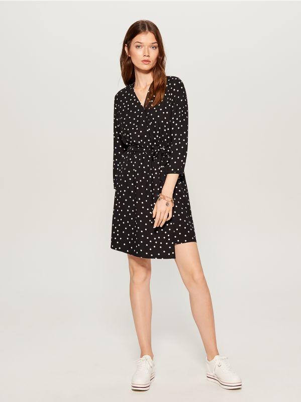 Printed wrap dress - black - VD246-99P - Mohito - 3