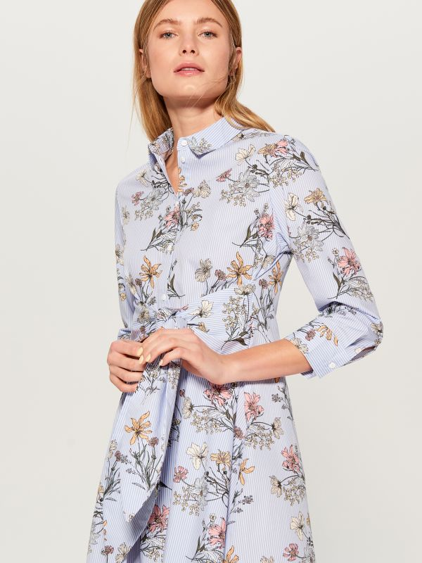 Shirt dress with tie - blue - VD247-05P - Mohito - 1