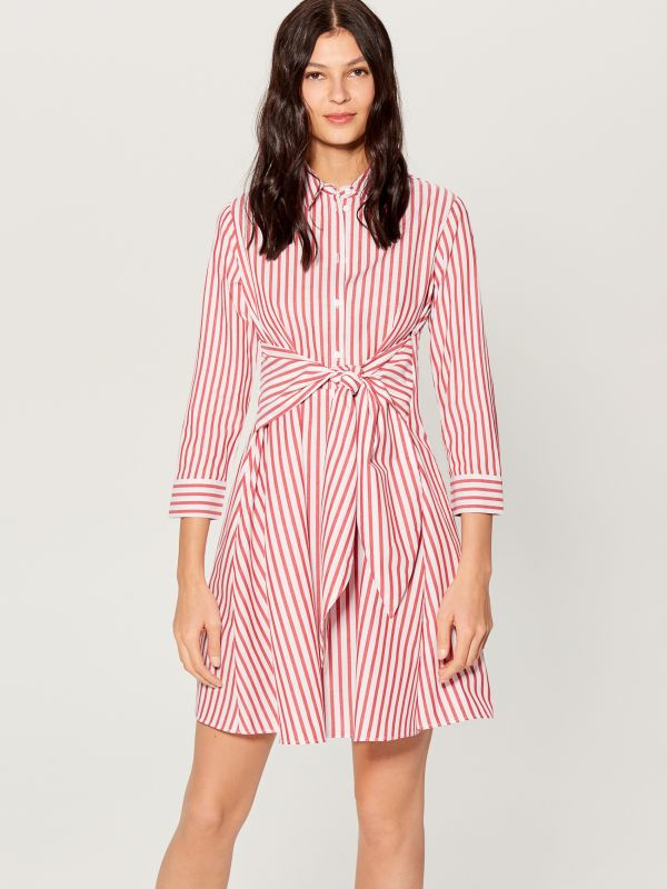 Shirt dress with tie - red - VD247-33P - Mohito - 1