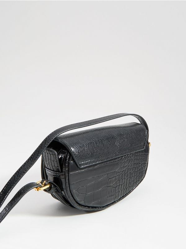Faux leather mini bag with embossed snake print - black - VD484-99X - Mohito - 2