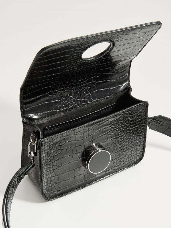 Cross body bag with round clasp - black - VE353-99X - Mohito - 5