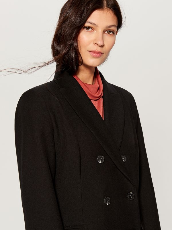 Double-breasted coat - black - VG216-99X - Mohito - 3