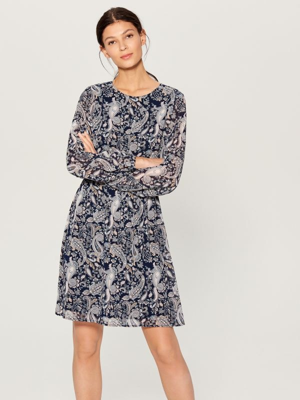 Patterned long sleeve dress - blue - VJ592-95P - Mohito - 1