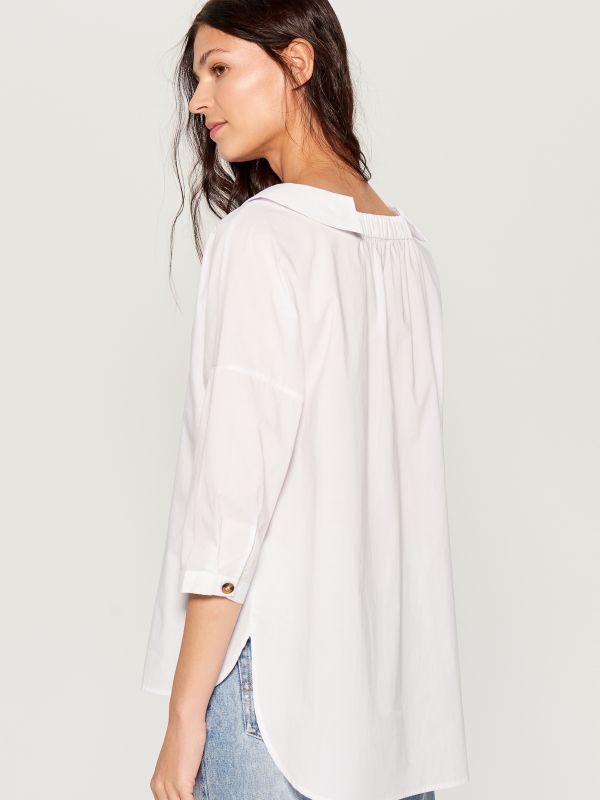 Oversized wide collar shirt - white - VL785-00X - Mohito - 2