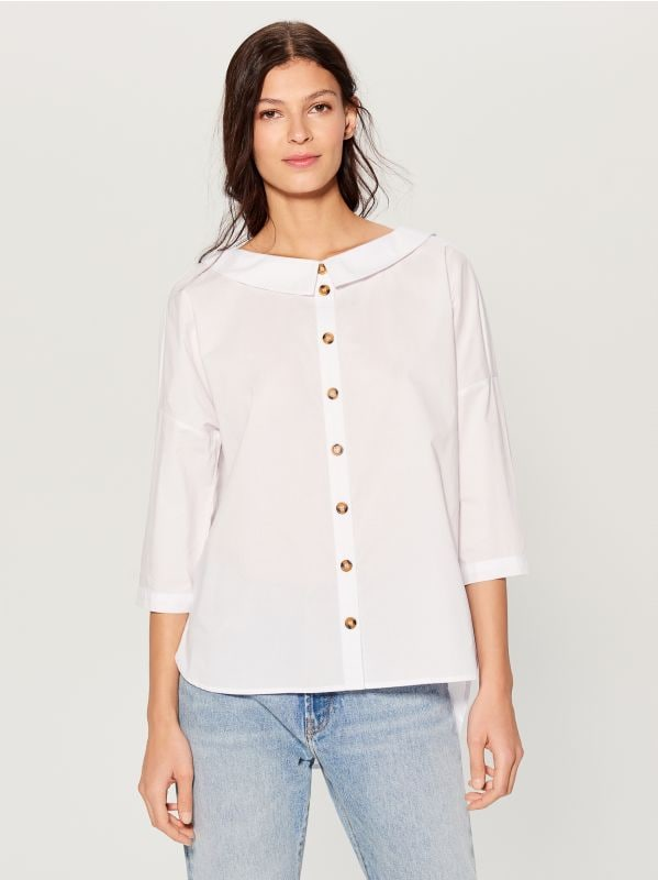 Oversized wide collar shirt - white - VL785-00X - Mohito - 3