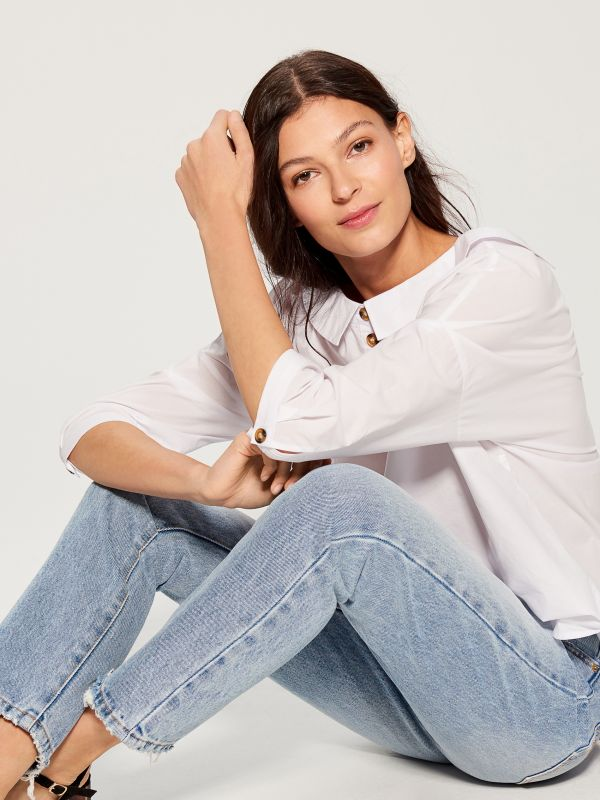 Oversized wide collar shirt - white - VL785-00X - Mohito - 5