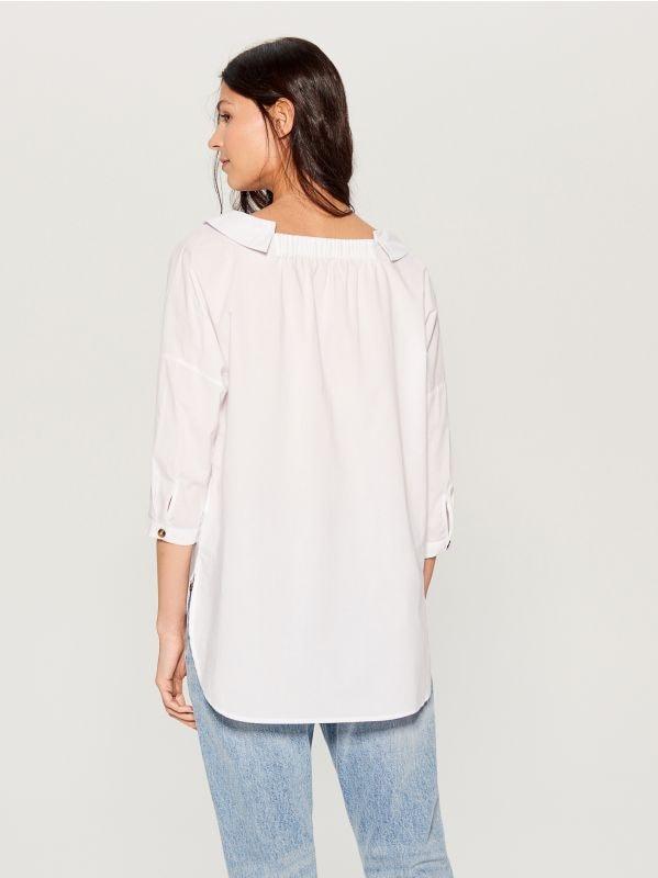 Oversized wide collar shirt - white - VL785-00X - Mohito - 6