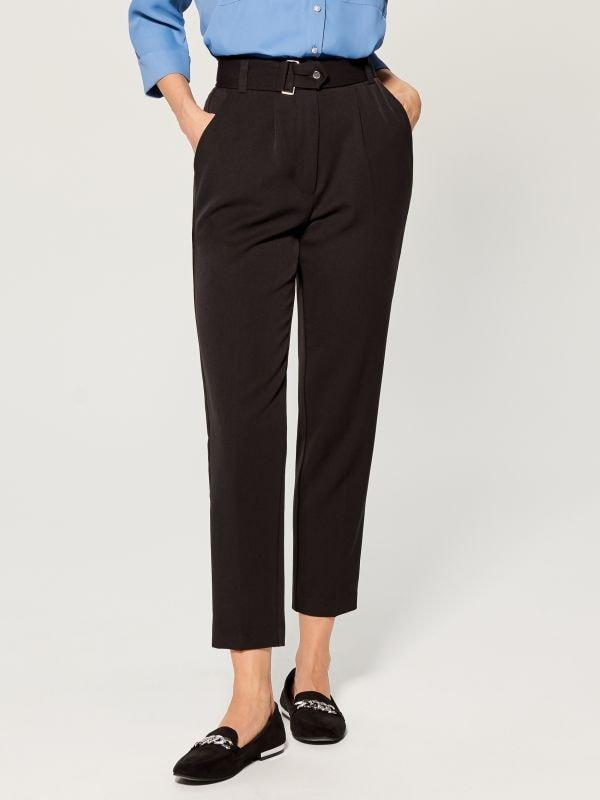 Cigarette pants with belt - black - VM141-99X - Mohito - 1