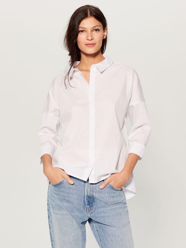 Oversized shirt with V back - white - VN055-00X - Mohito - 2
