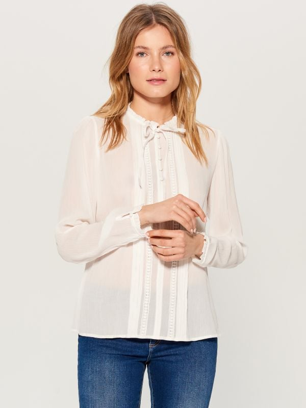 Ruffle neck blouse - ivory - VN124-01X - Mohito - 1