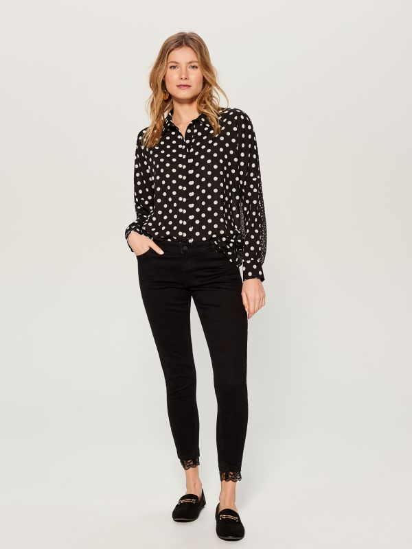 Polka dotted blouse - black - VN125-99P - Mohito - 3