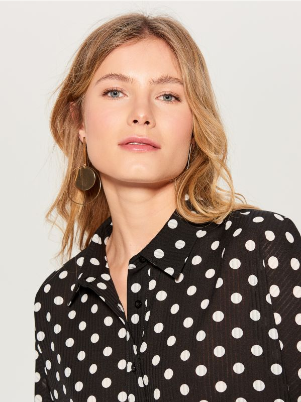 Polka dotted blouse - black - VN125-99P - Mohito - 4