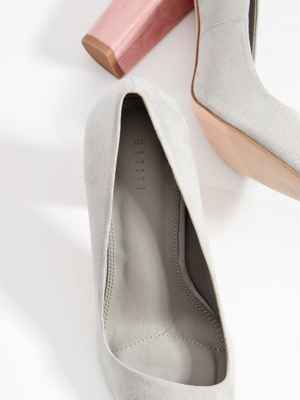 Chunky heel pumps - light grey - VN950-09X - Mohito - 4