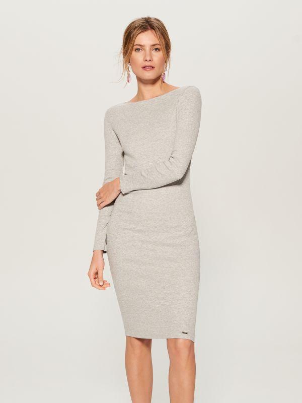 Fitted midi dress - grey - VO006-90X - Mohito - 2