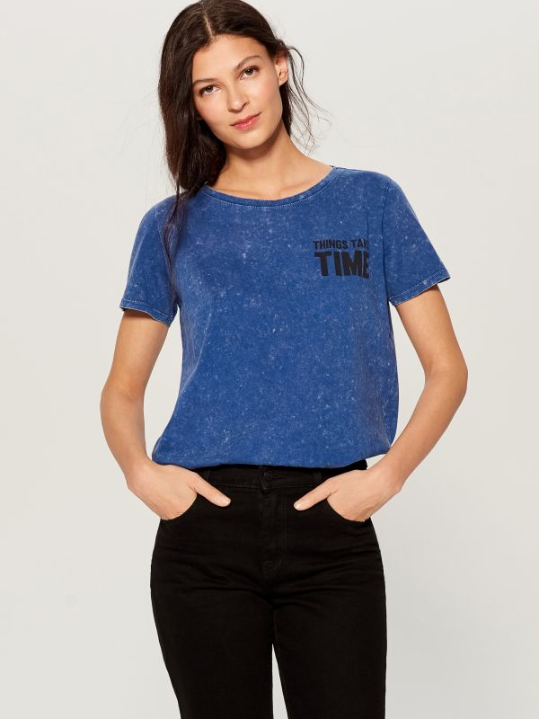 T-shirt with wash effect - blue - VO219-55X - Mohito - 2