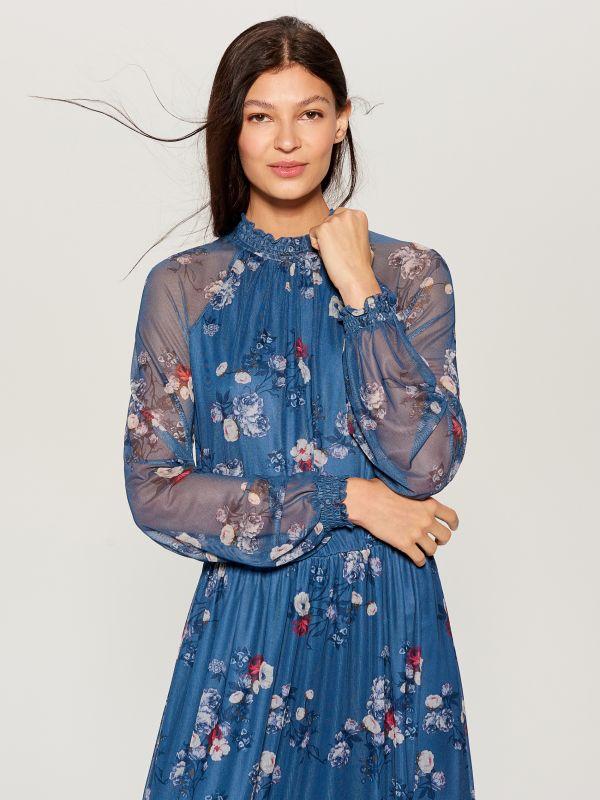 Chiffon floral dress - blue - VS324-50P - Mohito - 1