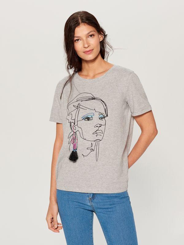 Cotton T-shirt - light grey - VS422-09X - Mohito - 2