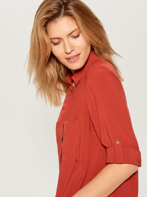 Roll-up sleeve shirt - red - VS979-29X - Mohito - 2
