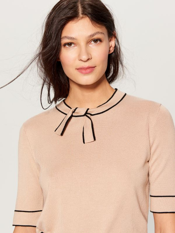 Jersey blouse with tie detail - beige - VU712-08X - Mohito - 3