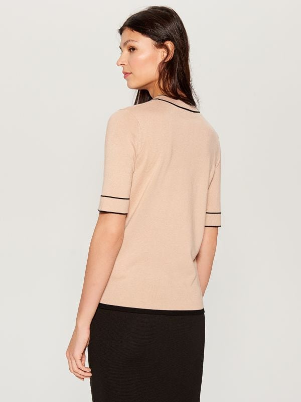 Jersey blouse with tie detail - beige - VU712-08X - Mohito - 4