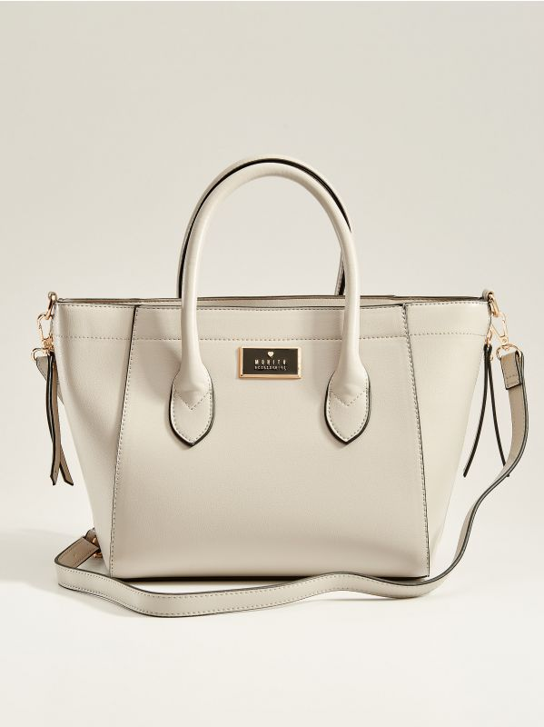 Handbag with decorative zippers - light grey - VV525-09X - Mohito - 1