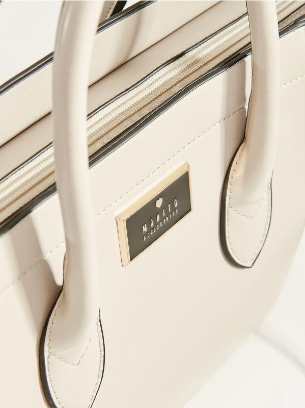 Handbag with decorative zippers - light grey - VV525-09X - Mohito - 3