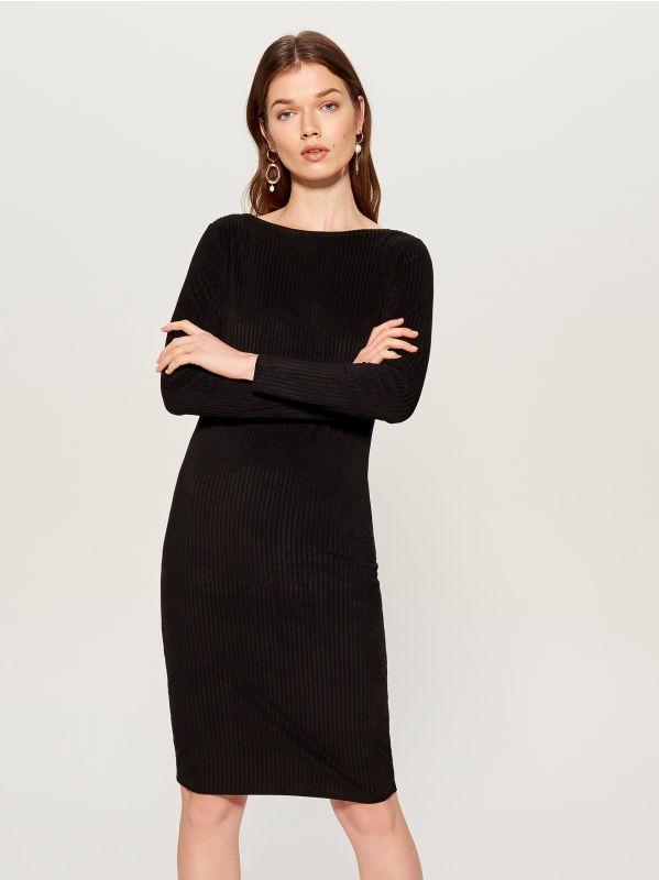 Fitted rib knit dress - black - VV974-99X - Mohito - 1