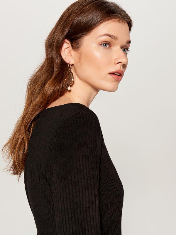Fitted rib knit dress - black - VV974-99X - Mohito - 2