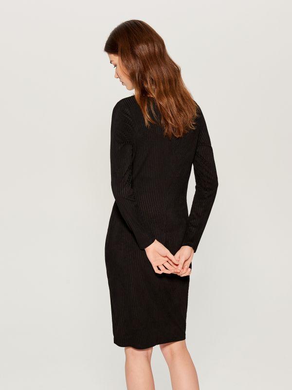 Fitted rib knit dress - black - VV974-99X - Mohito - 4