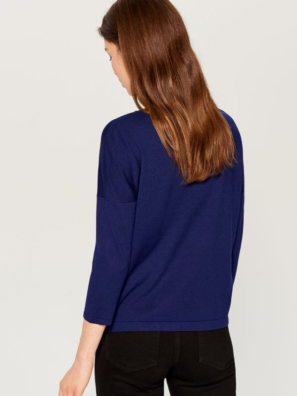 Sweater with appliqué - blue - VY344-95X - Mohito - 3