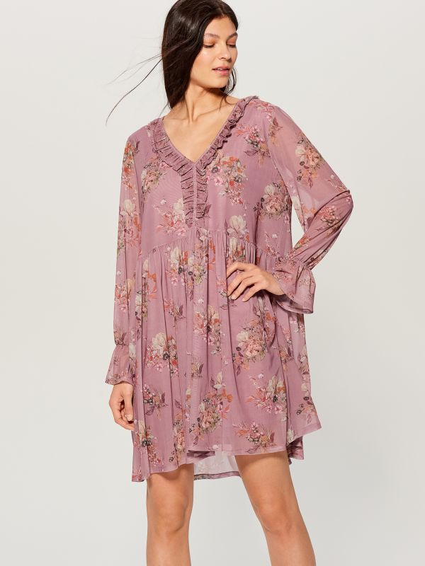 Oversized dress with ruffle trim  - pink - VZ582-39P - Mohito - 3