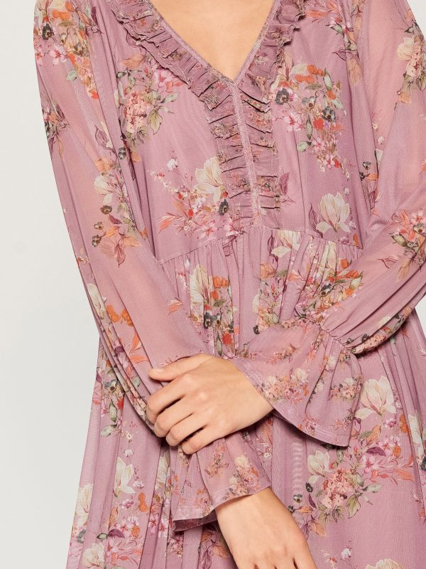 Oversized dress with ruffle trim  - pink - VZ582-39P - Mohito - 4