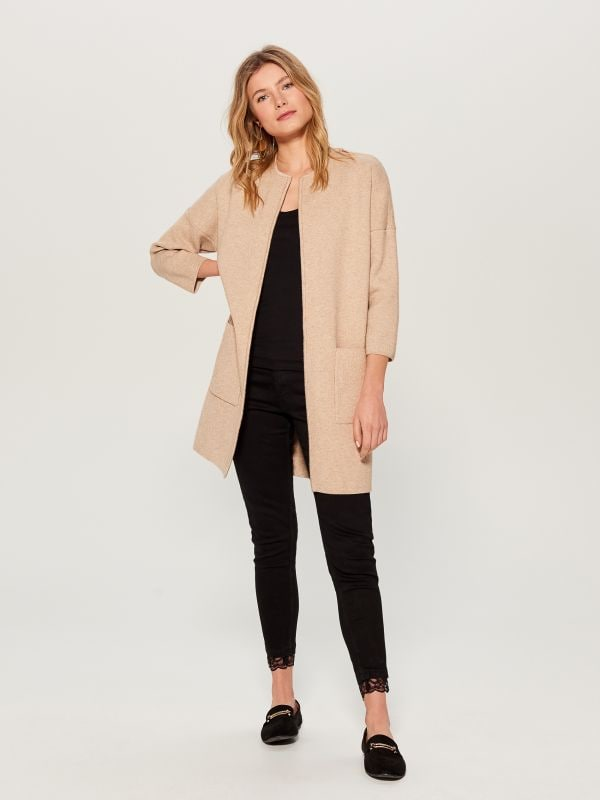 Cardigan with pockets - beige - VZ806-08X - Mohito - 1