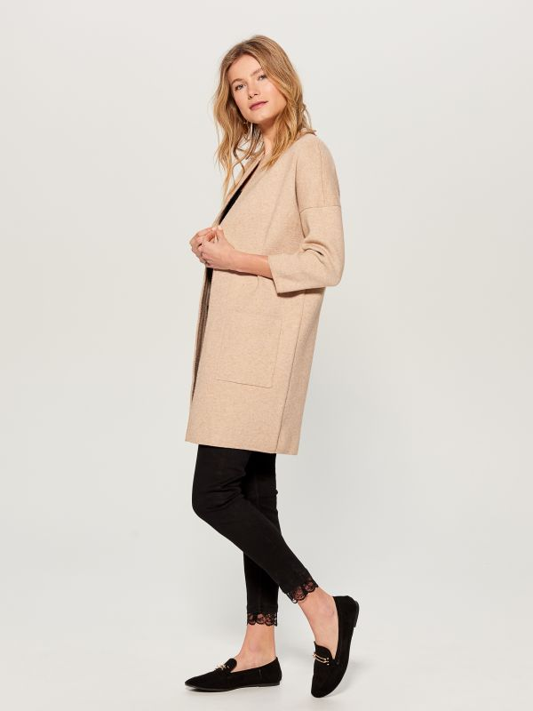 Cardigan with pockets - beige - VZ806-08X - Mohito - 3