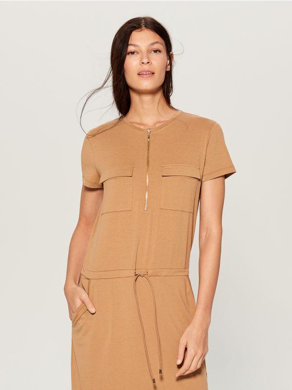 Zipped neckline dress - ivory - VZ846-02X - Mohito - 2