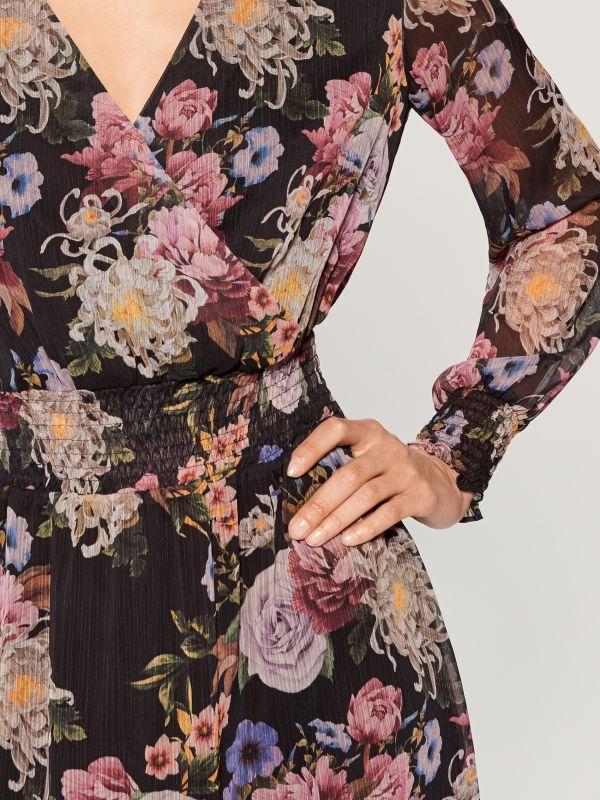 Chiffon floral dress - black - VZ973-99P - Mohito - 3