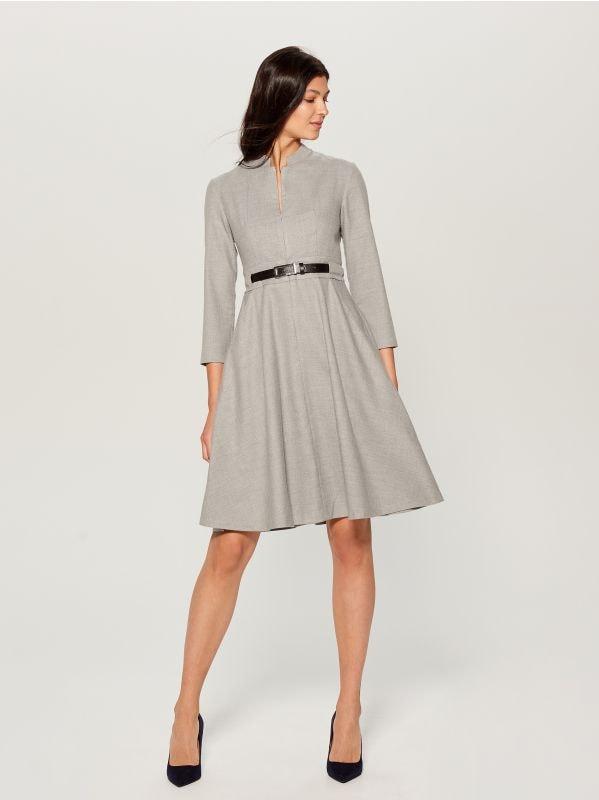 Dress with belt - light grey - VZ974-09X - Mohito - 1