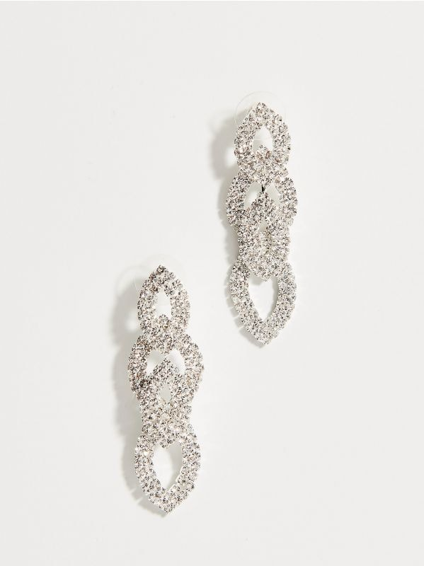 Long earrings with crystals - silver - WA580-SLV - Mohito - 1