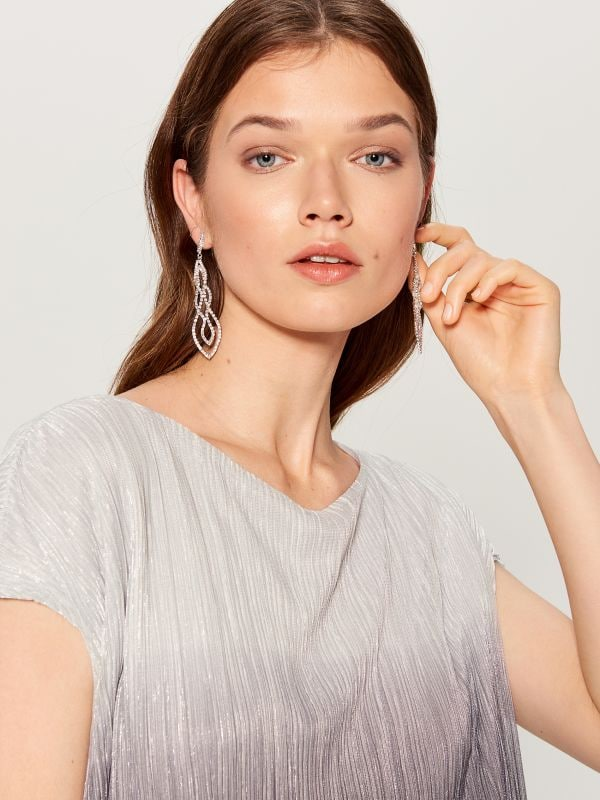 Layered crystal earrings - silver - WB222-SLV - Mohito - 1