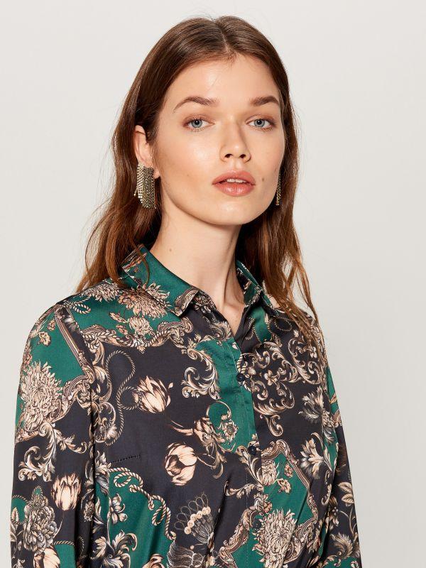 Printed shirt dress - green - WB268-79P - Mohito - 2